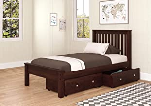 Donco Kids Contempory Bed with Dual Underbed Drawers Twin Dark Cappuccino