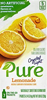 Crystal Light Pure Drink Mix, Lemonade, On The Go Packets, 7 Count (Pack of 6 Boxes)