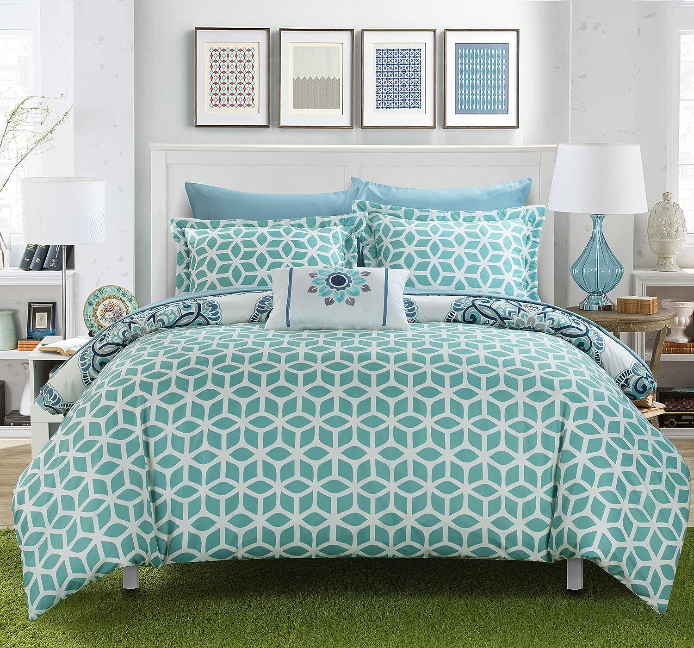 Chic Home Barcelona 8 Piece Reversible Comforter Set, Full/Queen, Grey