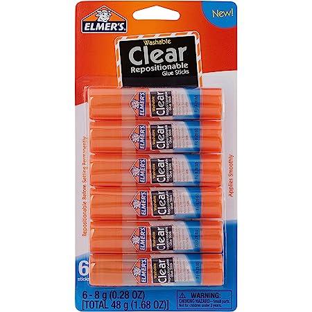 Elmer's Clear Glue Sticks, Washable, 0.28 Ounce Glue Sticks for Kids   School Supplies   Scrapbooking Supplies   Vision Board Supplies, 6 Count