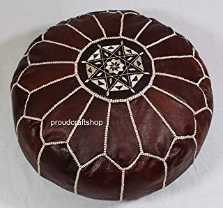 Premium Moroccan Handmade Pouf Real Leather Dark Brown Tabacco, Ottoman, 100% Real Natural Leather, unstuffed
