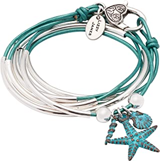 Lizzy James Girlfriend Wrap Silverplated 2 Strand Metallic Teal Leather Wrap Bracelet with Nautical Teal Charm Trio