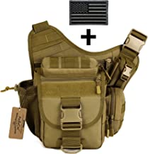 ArcEnCiel Tactical Camera Messenger Bag Military Shoulder Backpack EDC Sling Pack for Hiking Camping Trekking Motorcycling with Patch