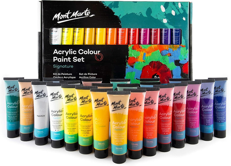 Mont Marte Pintura Acrílica Premium - 24 piezas x 36ml - Ideal para Pintura Acrílica - Colores Brillantes y Luminosos con gran opacidad