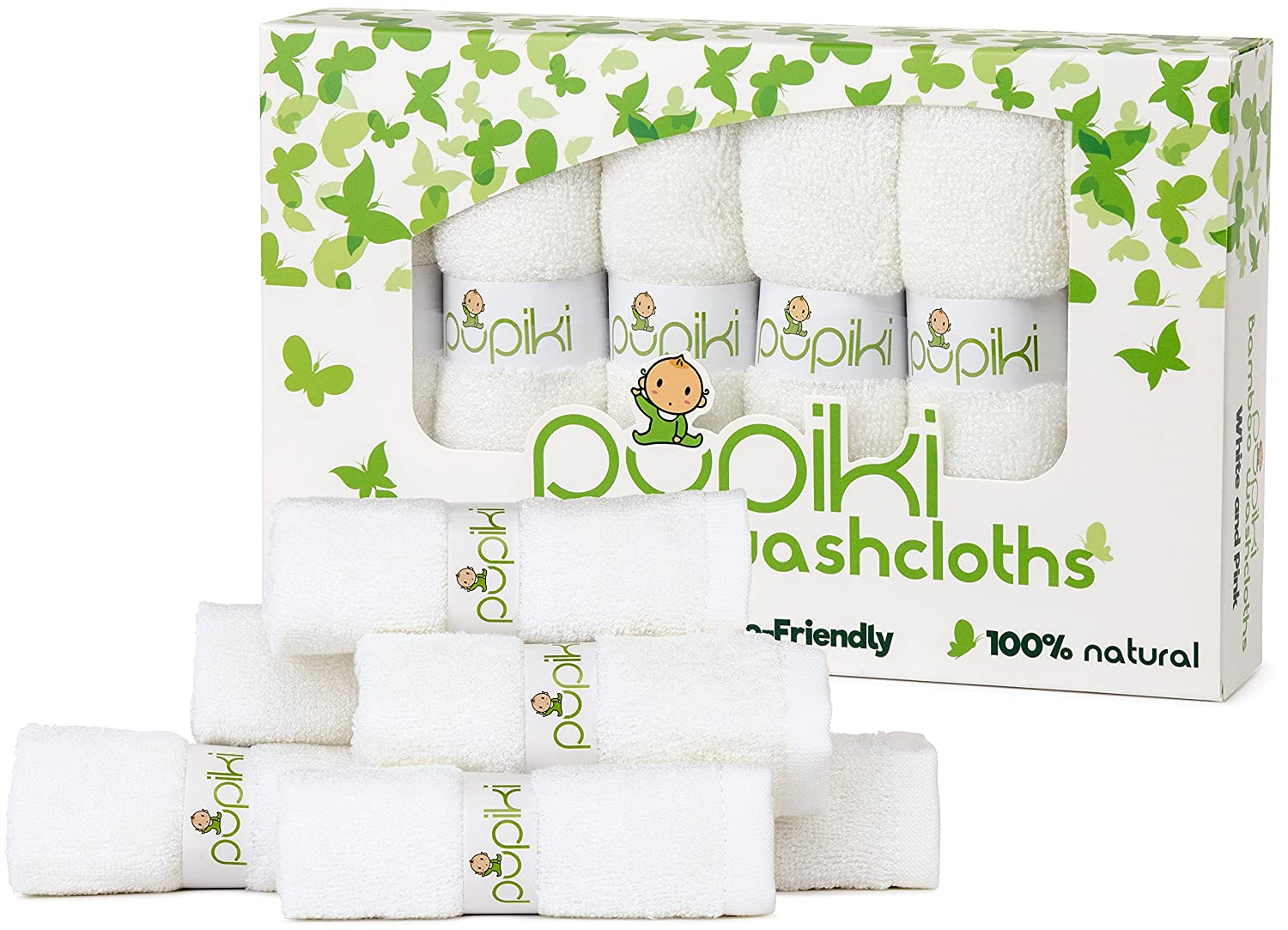Pupiki Premium Baby Washcloths 6 Ultra-Soft Hypoallergenic 100% Organic Bamboo from Rayon Fiber Baby Bath Washcloth Face Towels Absorbent 10X10 Newborn Towel Pack Unisex White