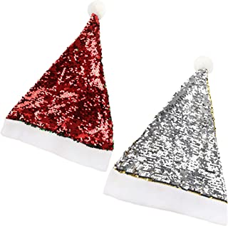 Houwsbaby 2 pcs Reversible Sequin Christmas Hat Kit Flippable Glitter Two-Side Sequins Xmas Santa Claus Cap Sparkle Paillette Holiday Party Supplies, 16.5 inches (01)