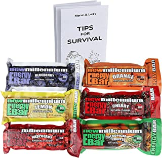 S.O.S. Food Labs Millennium Assorted Energy Bars (6 Count) - Long Shelf Life Fruit Flavored Bar Bundle - Survival Pack for Calamity, Disaster, Hiking and Meal Replacement - with Emergency Guide