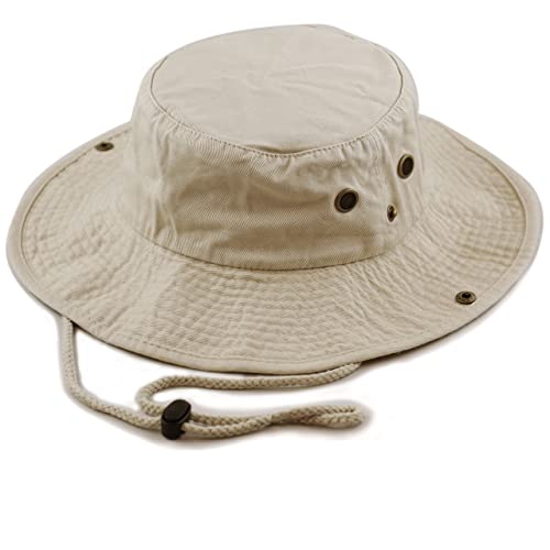 0ea884898a810 THE HAT DEPOT 100% Cotton Stone-Washed Safari Wide Brim Foldable  Double-Sided