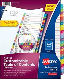 Avery A-Z Tab Dividers for 3 Ring Binders, Customizable Table of Contents, Multicolor Tabs, 1 Set (11844)
