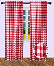 The Wooden Town Gingham Check Curtain, Window Treatment Panels, Décor Panel, Farmhouse Curtain, Kitchen Curtain, Bathroom Curtain, Living Room curtain-50x84 Inch -Red White-Set of 2 Panels