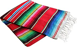 Del Mex Mexican Serape Blanket (X-large, Red)