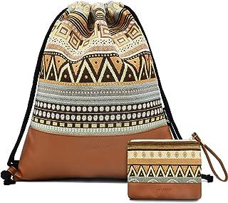 Leapop Turnbeutel Hipster Segeltuch Sporttaschen, Geometrisches Muster Gym Sack Beutel Sportbeutel Tüte Rucksack mit Innentasche und Schlüsselbund, Münzbörsen