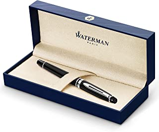 Waterman Expert Fountain Pen, Gloss Black with Chrome Trim, Medium Nib with Blue Ink Cartridge, Gift Box