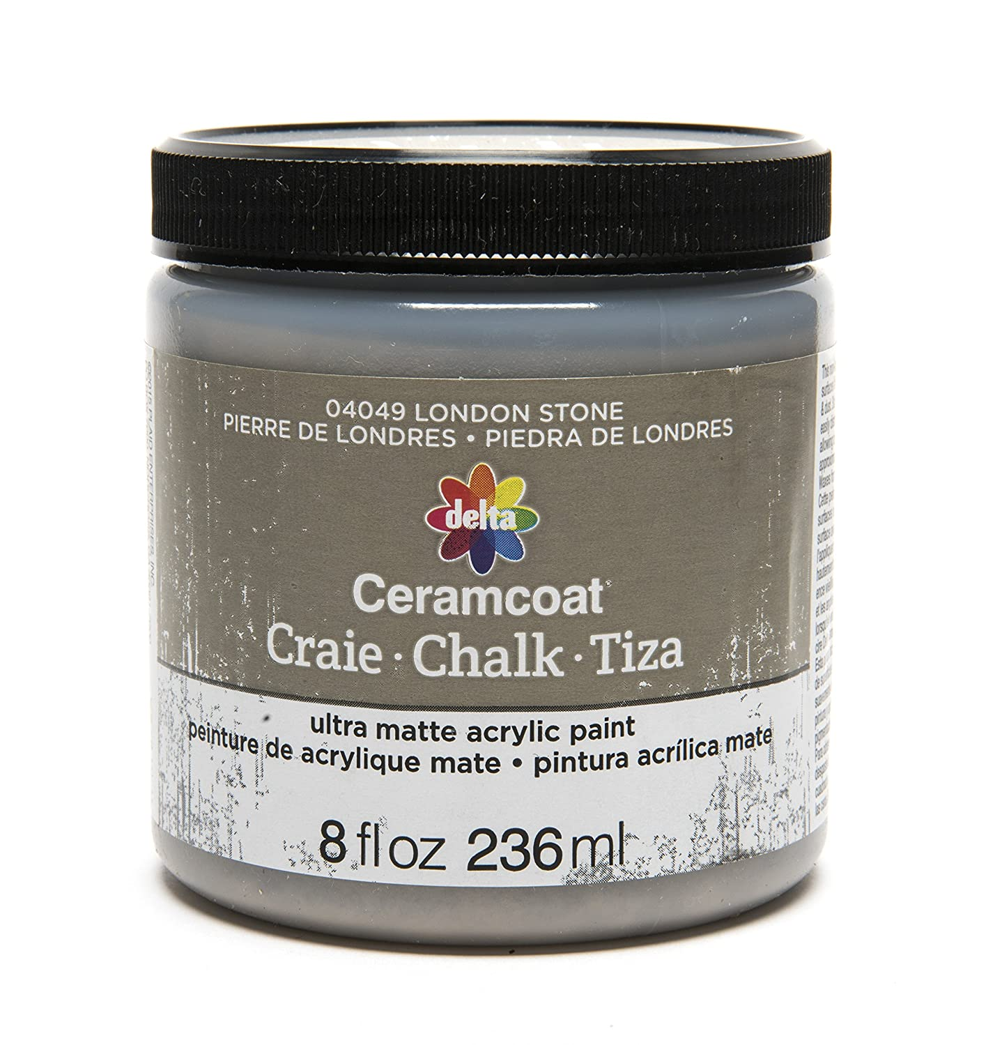 Delta Creative Ceramcoat Ultra Matte Chalk Furniture & Craft Paint in Assorted Colors (8 Ounce), 04049 London Stone