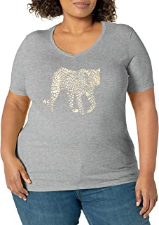 JUST MY SIZE Women's Size Plus Printed Short-Sleeve V-Neck T-Shirt