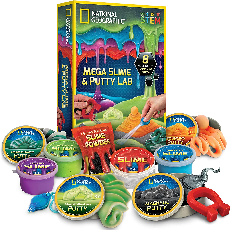 NATIONAL GEOGRAPHIC Mega Slime Kit Atlanta Mall Putty 4 of Types Amaz Max 89% OFF - Lab