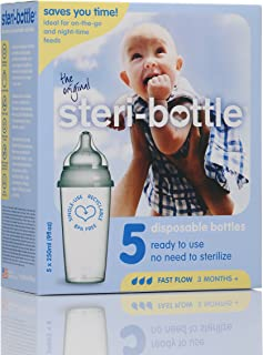 Steribottle Ready to Use Disposable Baby Bottles, 5-Count