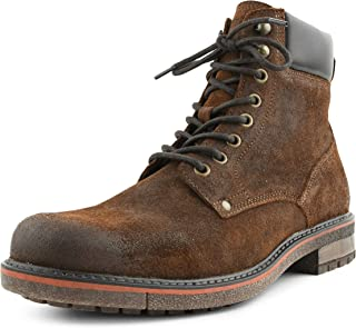 Asher Green AG6011 - Men's Casual Boots, Genuine Suede High Top Lace Up Combat Boots with Rubber Outsole, Padded Collar, and Inside Zipper