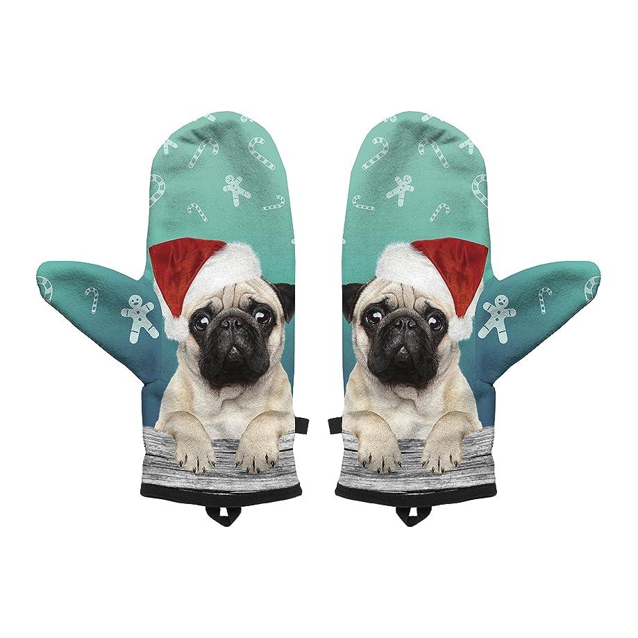 Fringoo Baby Boys' Winter Mitten Warm Gloves Cosy Windproof Christmas Pug Cat Small / Medium Xmas Pug
