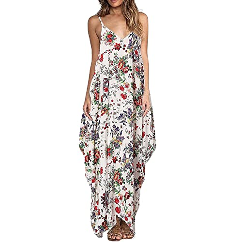 84b60957ccc Aifer Women s Floral Print Boho Long Plain Dress Spaghetti Strap V-Neck  Loose Beach Cami