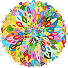 Bgraamiens Puzzle-Blooming Color-1000 Pieces Gradient Puzzle Color Challenge Blue Board Round Jigsaw Puzzles