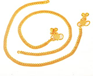 MEENAZ Traditional Simple ethnic 1 Gram Micro gold plated Foot Single Leg Chain Golden Anklets Ghungroo payal combo for gi...