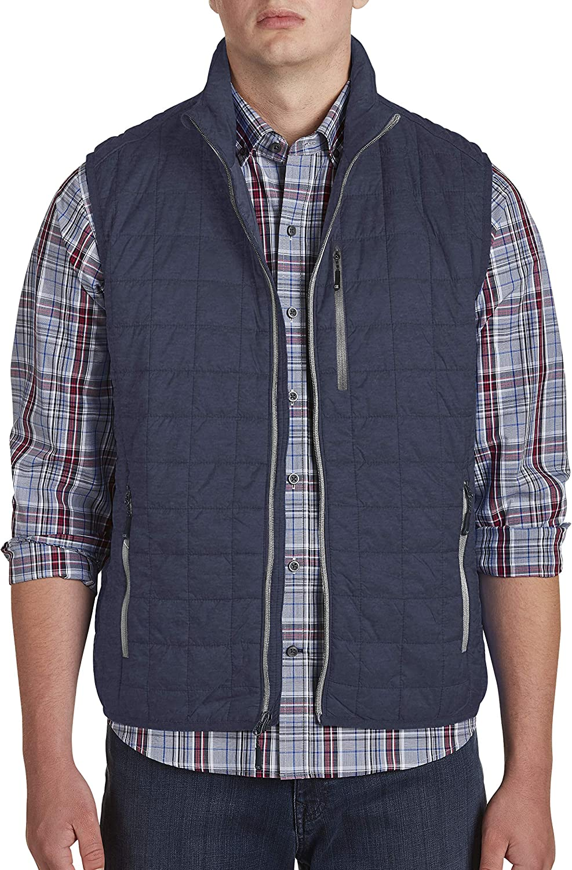 Cutter & Buck Men's Weather Resistant Primaloft Down Alternative Rainier Vest, Anthracite Melange, X-Large Tall
