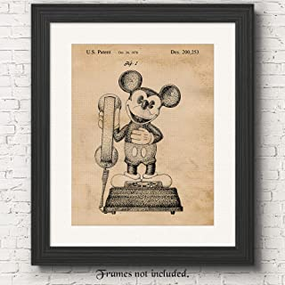 Original Mickey Mouse Phone Patent Poster Prints, Set of 1 (11x14) Unframed Photo, Great Wall Art Decor Gifts Under 15 for Home, Office, Studio, Man Cave, Student, Teacher, Amusement & Theme Park Fan