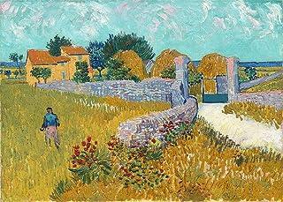 *Farmhouse in Provence* (1888)- A Famous Painting by Van Gogh, Wall Décor Frame (Acrylic Spray Coated Canvas Print, Pinewo...