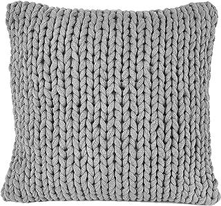 Nielsen Funda de cojín Marlin de punto grueso, 50 x 50 cm, gris claro, 100% algodón, de punto, certificado Ökotex, punto grueso, acogedora y elegante, cojín decorativo para sofá