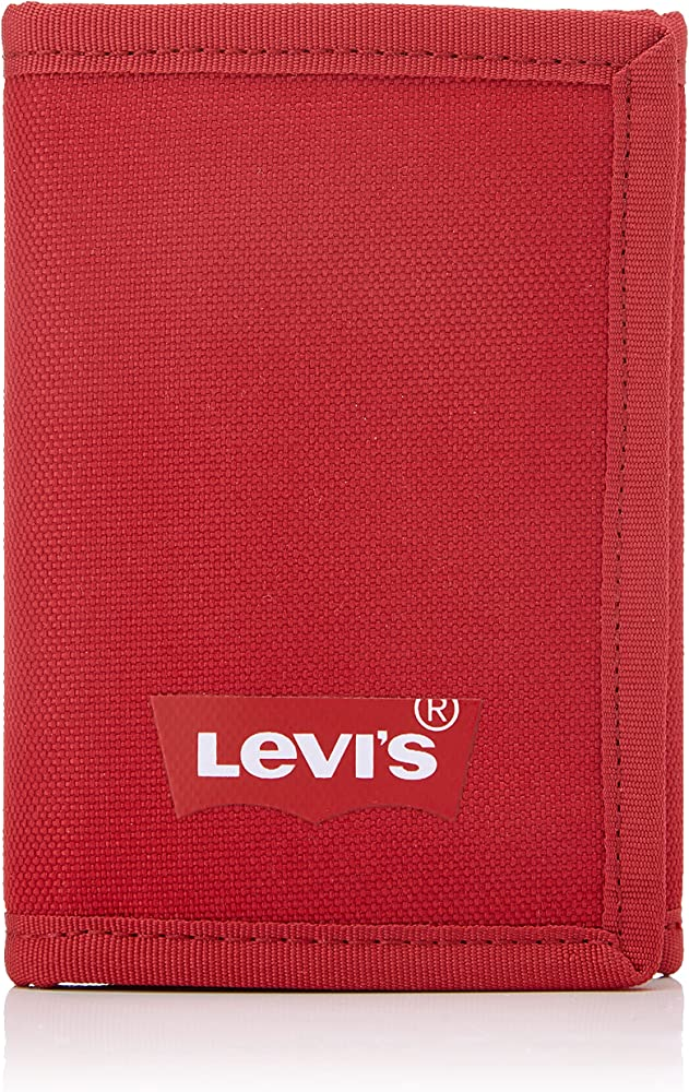 Levi`s batwing trifold wallet portafogli porta carte di credito 100% poliestere riciclato per uomo ROSSO