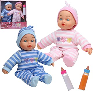 My First Mabelle Twin Baby Dolls, 2 Bottles,Opening Closing Eyes