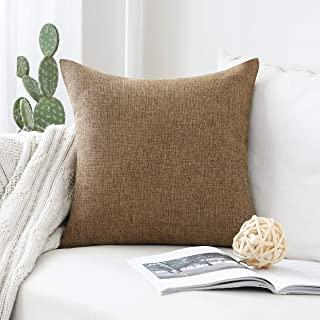 Home Brilliant Textured Burlap Decorative Throw Pillow Cover Lined Linen Cushion Case for Floor, 26x26 inches, Brown