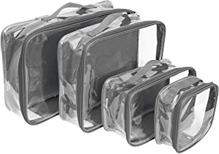 Clear Packing Cubes set of 4 / Packs 7-10 Days of Clothes/Premium PVC Plastic Storage Cube (Gray)