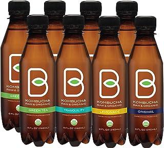 B-tea Kombucha Raw Organic Tea, Only 2g of Sugar, Probiotics and Prebiotic, Promotes Healthy Weight Loss, Kosher, 8 oz., 8...