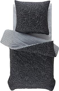 Moderne Wendebettwäsche Bettgarnitur Bettbezug Bettwäsche Doppelseitig 4 Größen, Farbe:Schwarz, Größe:155 x 220 cm