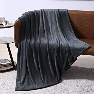 EXQ Home Fleece Blanket Charcoal Grey Throw Blanket for Couch or Bed - Super Soft Microfiber Fuzzy Flannel Blanket for Adults or Kids
