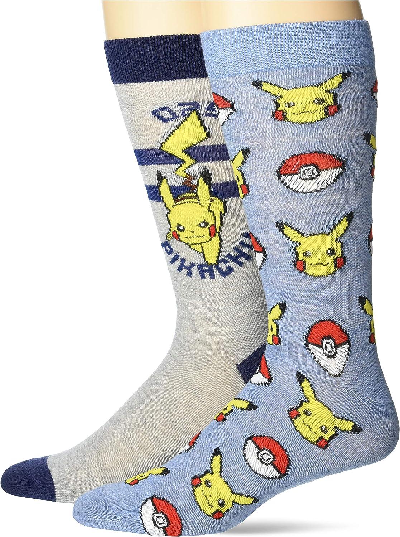 Pokemon mens Pokemon 2 Pack Crew Socks
