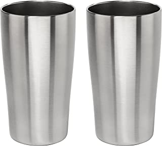 Stainless Vacuum Insulated Beer Tumbler - 16oz Pub Pint Glass by Lancaster Steel, set of 2