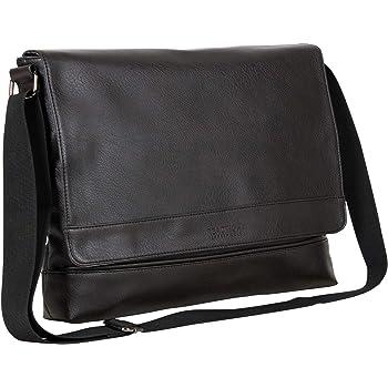 "Kenneth Cole REACTION Strident-Class Vegan Leather 15"" Laptop & Tablet Crossbody Messenger Bag for Work, School, & Travel"