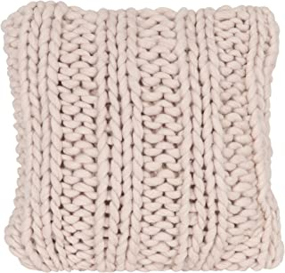 Kate and Laurel - Chunky Knit Throw Pillow Cover, 18 x 18 Rose Pink