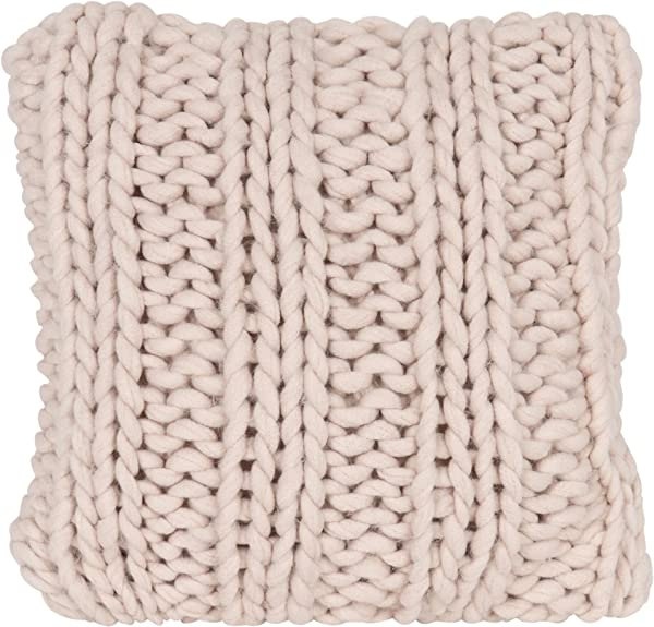 Kate And Laurel Chunky Knit Throw Pillow Cover 18 X 18 Rose Pink