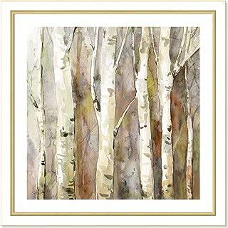 Casa Fine Arts Quiet Morning II Brown Birch Tree Forest Landscape Wall Art Archival Watercolor Print, 31