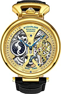 Stührling Original Mens Skeleton Watch Dial Automatic Watch with Calfskin Leather Band and - Dual Time, AM/PM Sun Moon