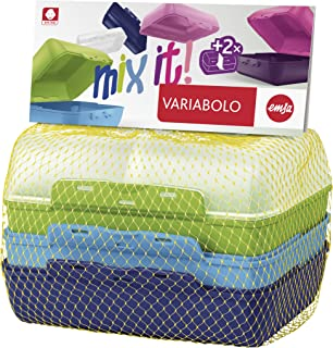 Emsa 517053 Variabolo 4-teiliges Frischhaltedosen Boys-Set, 16 x 11 x 7 cm, beidseitig zu öffnen, platzsparend ineinander ...