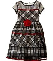 Us Angels - Short Sleeve Jacquard Organza Dress (Toddler/Little Kids)