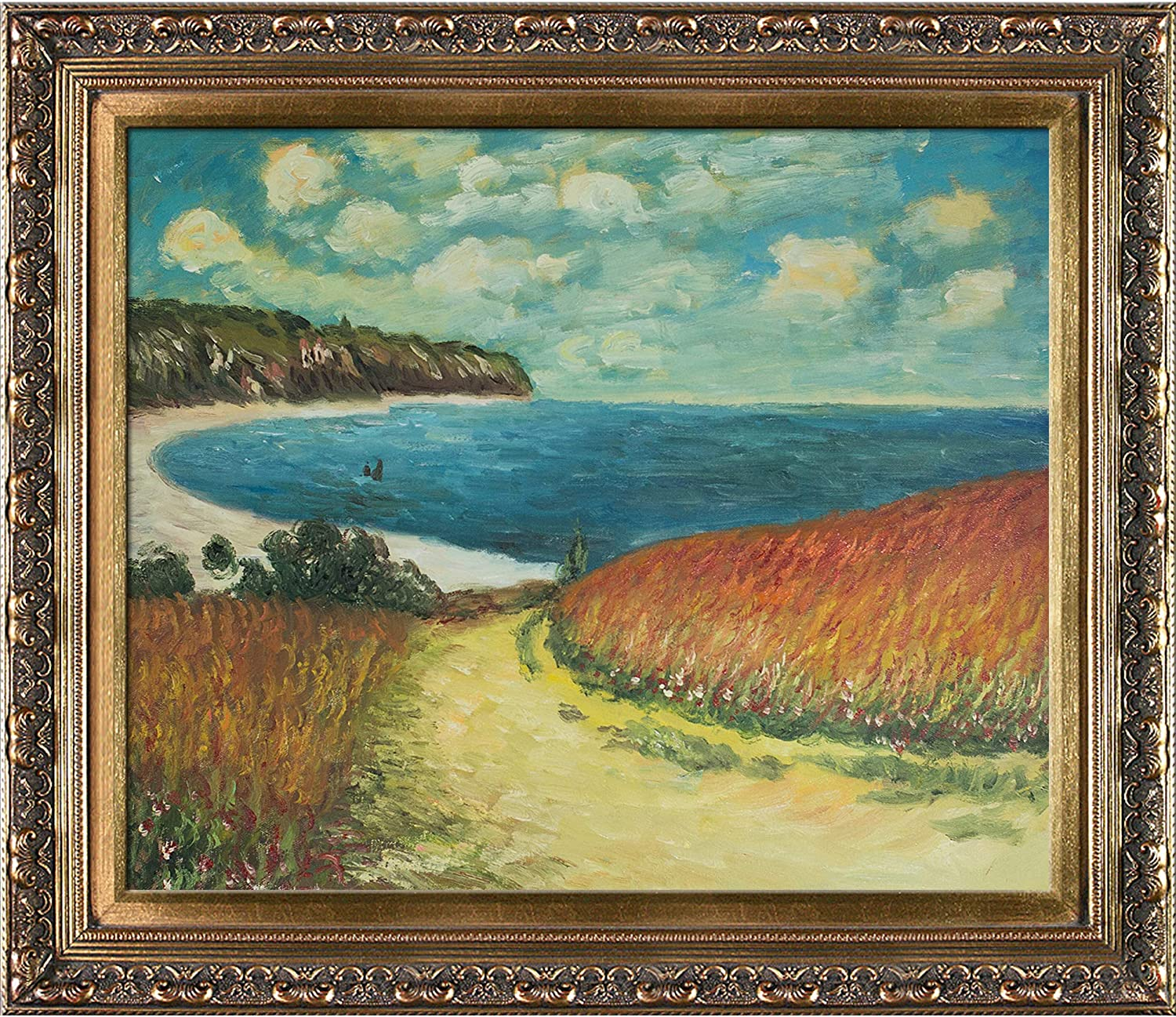 overstockArt Monet Meadow Road to wi Japan's largest assortment Oil Painting Pourville 1882 Sale price