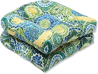 Pillow Perfect Outdoor Omnia Lagoon Wicker Seat Cushion, Set of 2