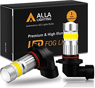 Alla Lighting H10 9145 LED Fog Light Bulb 3000K Amber Yellow 2800 Lumens Xtreme Super Bright CANBUS COB-72 SMD 9140 9045 9155 PY250D Replacement for Cars, Trucks