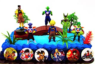 Dragon Ball Z 13 Piece Birthday Cake Topper Featuring 3 Anime Figures And